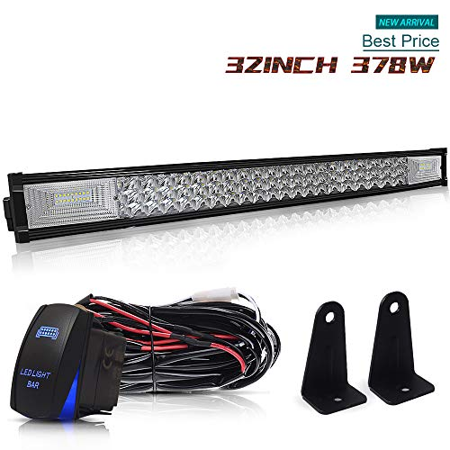 "DOT Triple Row 32"" Inch 378W Led Light Bar Combo Grill Windshield Bumper Light Bar + 1x Rocker Switch + 1x Wiring Harness for Polaris RZR Golf Cart ATV Truck Jeep Wrangler Dodge Chevy Ford Toyota"
