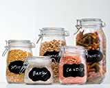 Kitchen Storage Jars HomEquip 5-Piece Airtight Canister Set with Clip Top Lids (Clear Glass): Kitchen Preserving Storage Jars - Great Dry Food Pantry Containers for Pasta, Cereal, Cookies, Sugar, Flour Coffee & Tea