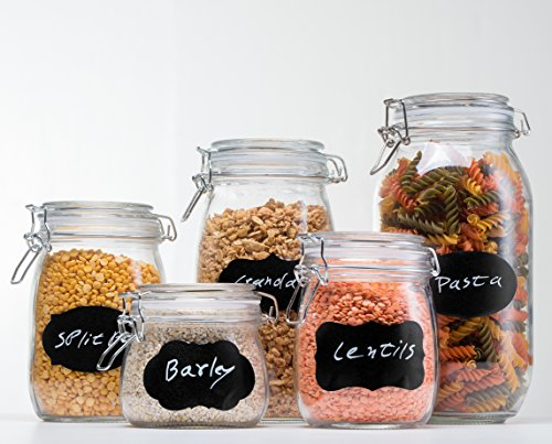 HomEquip 5-Piece Airtight Canister Set with Clip Top Lids (Clear Glass): Kitchen Preserving Storage Jars - Great Dry Food Pantry Containers for Pasta, Cereal, Cookies, Sugar, Flour Coffee & Tea
