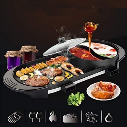 BBQ Hot Pot, 2400w indépendant double alimentation Contrôle de la température de réglage Barbecue Pot, Maifan Pierre Coated Smokeless Barbecue Pot Barbecue électrique dsfhsfd