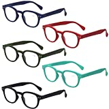 Kerecsen Reading Glasses Set of 5 Quality Fashion Readers Spring Hinge Glasses for Reading (5 Pack Mix Color, 1.50)