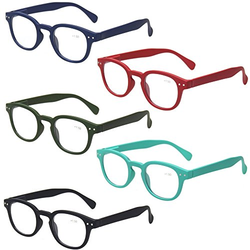 Kerecsen Reading Glasses Set of 5 Quality Fashion Readers Spring Hinge Glasses for Reading (5 Pack Mix Color, 2.50)