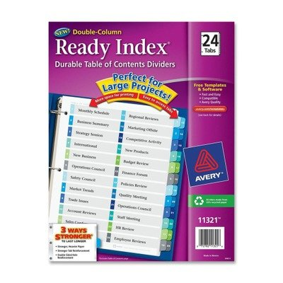 AVE11321 - Avery Ready Index Two-Column Table of Contents Divider