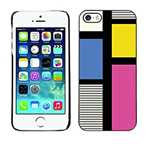 LASTONE PHONE CASE / Carcasa Funda Prima Delgada SLIM Casa Carcasa Funda Case Bandera Cover Armor Shell para Apple Iphone 5 / 5S / Clean Pattern Fuchsia Yellow Lines