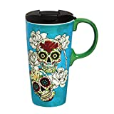Cypress Home Day of the Dead Ceramic Travel Coffee Mug, 17 ounces
