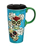 "Cypress Home Day of the Dead 17 oz Boxed Ceramic Perfect Travel Coffee Mug or Tea Cup with Lid - 3""W x 5.25''D x 7''H"