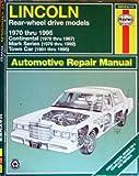 Haynes Lincoln Towncar 1970-1995, Mark Ryan, John Harold Haynes, 1563921170