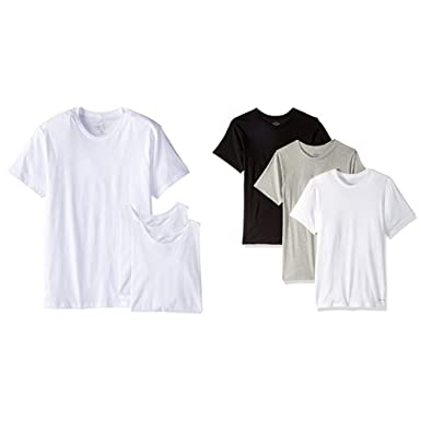 98d9b325f0b4 Amazon.com: Calvin Klein Men's Cotton Classics Short Sleeve Crew Neck T- Shirt, White (3 Pack), Small and Black/Grey/White, Small: Clothing