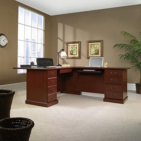Sauder Office Furniture Heritage Hill Collection Classic Cherry Reversible L-Desk - Hill Home Office Collection
