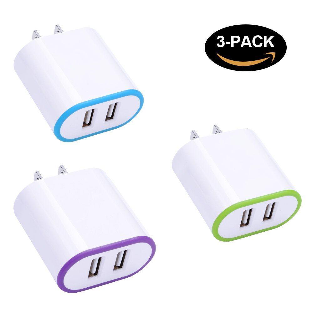 Wall Charger Block, Charging Cubes Wall Plug Android, 3-Pack 2.1A/5V USB Power Adapter Cell Phone Station Cube Fast Charging for iPhone X/8/7/6/6 Plus, iPad, Samsung Galaxy S9/S9 Plus and More Devices