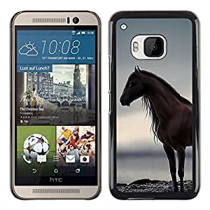 Planetar® ( Horse Sea Ocean Stallion Grey Summer ) HTC One M9 Fundas Cover Cubre Hard Case Cover