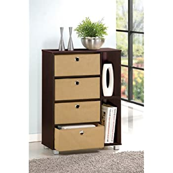 Furinno 11159EX/BR Multipurpose Storage Cabinet w/4 Bin Drawers, Espresso/Brown