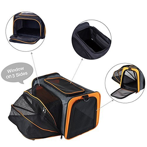 Pettom Expandable Foldable Pet Carrier Big Space Travel Handbag Soft-sided Bags for Dogs Cats and Other Animals(M, Orange) by Pettom (Image #4)