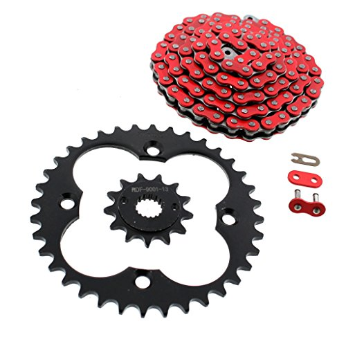 1999-2004 Honda 400EX TRX400EX Red Non O-Ring Chain & Black Sprocket 13/36 94L by Race-Driven