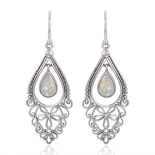 (925 Sterling Silver Bali Filigree Chandelier Design w/ White Opal Dangle Earrings)