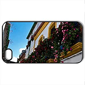 Balcony de Flores - Case Cover for iPhone 4 and 4s (Houses Series, Watercolor style, Black)