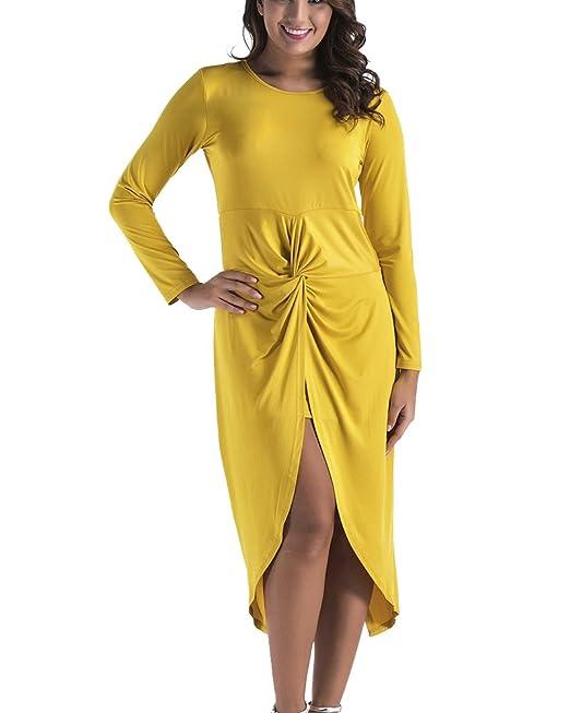 Mujer Coctel Vestidos Plisados Manga Larga De Tallas Grandes Vestido De Fiesta De Noche Amarillo 2XL