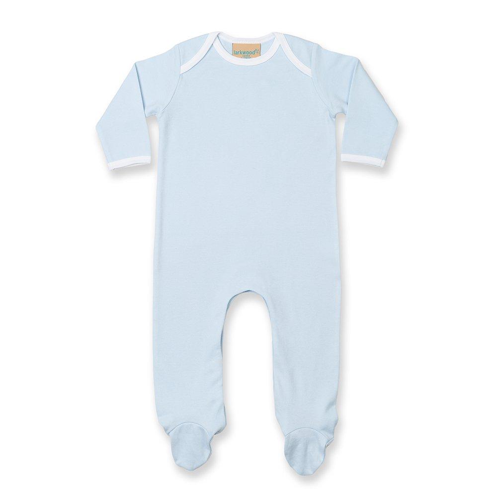 Larkwood Baby Unisex Contrast Long Sleeve Sleep Suit (3-6 Months) (White/White) UTRW798_15