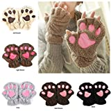 LB-2017 Winter Lovely Women Bear Cat Claw Paw Mitten Plush Gloves Short Finger Half Cover Female Gloves (Light Brown)