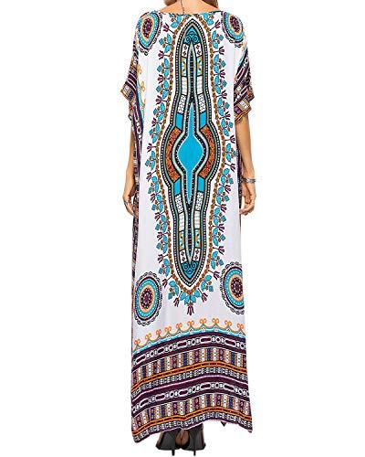 AUDATE Damen Lange Kaftan Kleid Boho Kimono Sommerkleid Ethnic Print Maxikleid Kurzarm Strandkleid Strandponcho Tunika