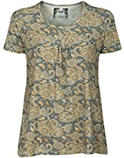 Tunika Bluse Tops Damen T-Shirt Sport Funktionsshirt elegant Vintage Bambus große Größen nachhaltig atmungsaktiv antibakteriell antiallergen Floral hautfreundlich Kurzarm gelb