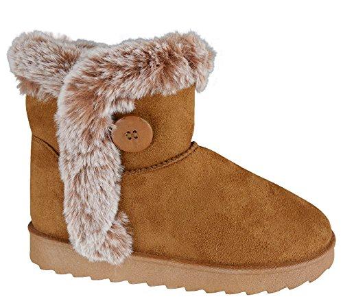 EYESONTOES Ladies Womens Mid Calf Warm Winter Fur Lined Snugg Hug Grip Sole Boots Size 3-8 TAN BUTTON EOYQlmZ3w