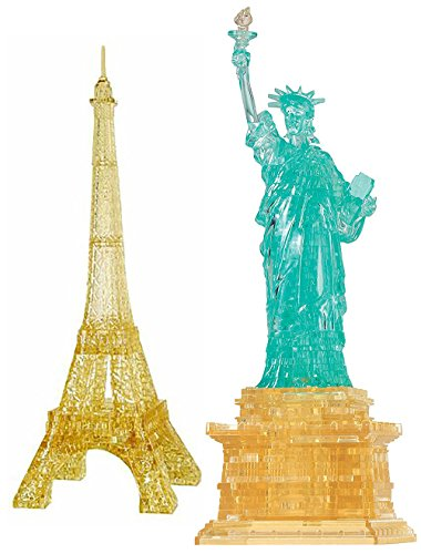 Bepuzzled Original 3D Crystal Statue of Liberty and Eiffel Tower - Puzzle Bundle 2 Puzzles (Gustave Eiffel And The Statue Of Liberty)