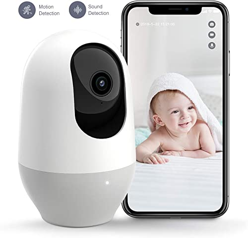 Nooie Baby Monitor, WiFi Pet Camera Indoor, 360-degree Wireless IP Nanny Camera, 1080P Home Security Camera, Motion Tracking, IR Night Vision, Works with Alexa, Two-Way Audio, Motion Sound Detection
