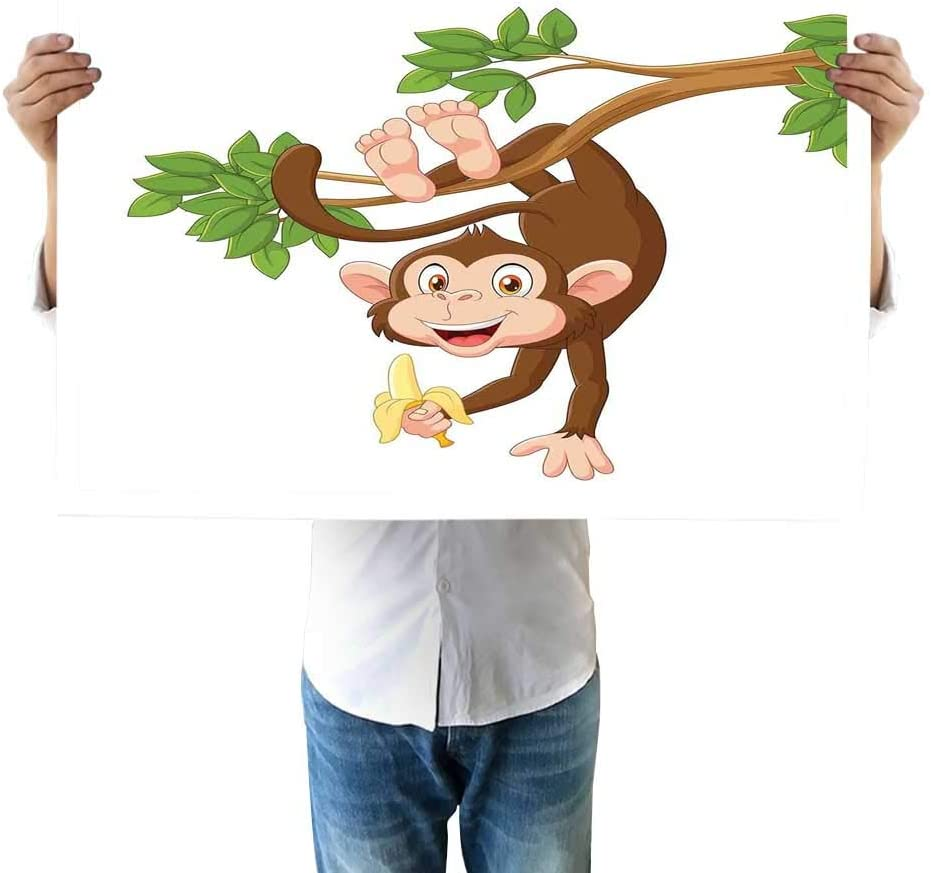 Amazon Com Cartoon Micro Jet Funny Monkey Hanging From Tree With Banana Jungle Animals Theme Mascot Print Room 24 X32 Inch Chocolate White Jump to navigation jump to search. amazon com