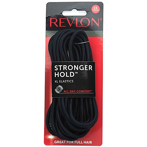 Revlon Extra Long Black Hair Elastics, 16 Count