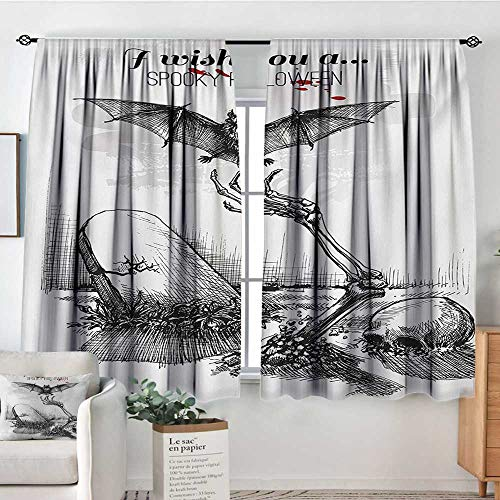 Elliot Dorothy Sheer Curtains Halloween,Dead Skull Skeleton Out of The Grave and Flying Bat Hand Drawn Spooky Picture,Black White,Decor Collection Thermal/Room Darkening Window Curtains 55