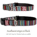Southwestern black stripe dog collar : Tribal, Navajo, Native American, Aztec Mexican inspired fabric / black nylon designer handmade pet collar. Small dog collar to large dog collar. Made in the U.S.A. M