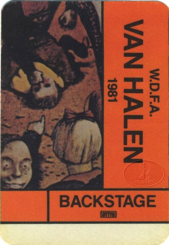 Backstage Pass Van - Van Halen 1981 Fair Warning Backstage Pass AA Orange