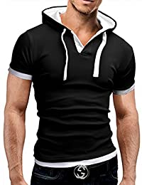 Bestgift Men's Casual Fit Solid Short Sleeve Hoodie T-shirt