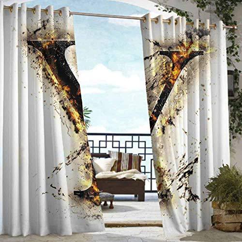(VIVIDX Living Room/Bedroom Window Curtains,Letter Y,for Patio/Front Porch,W108x72L Tan Black Orange)