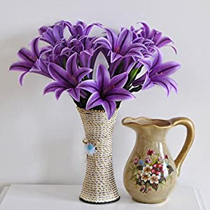 Hotab Artificial Flowers 9 Heads Silk Vivid Lily Fake Floral Bouquet Wedding Party Home Decoration 2