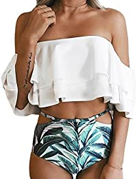 THEE Women's Lovely Double Layer Lotus Leaf Swimwear Off Shoulder Two Piece