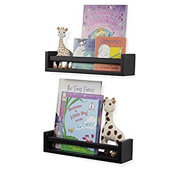 Wallniture Utah Set of 2 Multi-use Wood Kitchen Wall Shelf Black Spice Rack Also Good For Nursery Wall Shelf