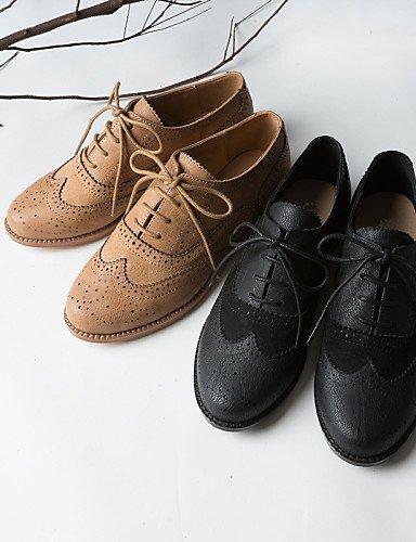 ZQ Hug Zapatos de Mujer-Tacón Plano-Punta Cerrada-Oxfords-Oficina y Trabajo/Vestido/Casual-Semicuero/Tejido-Negro/Marrón, brown-us5/eu35/uk3/cn34, brown-us5/eu35/uk3/cn34 brown-us6 / eu36 / uk4 / cn36