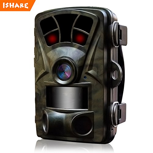ISHARE [NEW VERSION] Trail Camera 16MP 1080P Wildlife Game Camera with Night Vision 2.4''LCD 65ft 0.2s Trigger Speed IP66 Waterproof for Deer Hunting Camera