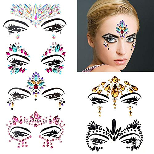 Adhesive Face Decal - Ranpower 6 Sets Women Mermaid Face Gems Glitter Stickers Rhinestone Bindis Crystal Eyes Body Face Jewels Temporary Tattoo Forehead Decorations for Music Festivals Rave Carnival Halloween Party