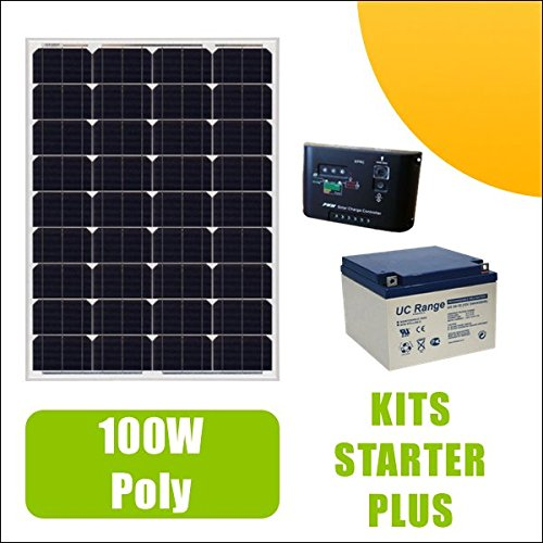 Kit Solarpanel 100W Poly 12V AV Laderegler 10A und Akku