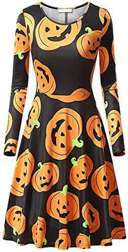 064508688755 Halloween Women Clothes Charberry Three-Quarter Sleeve Skirts Long Sleeve  Halloween Printed Cocktail Dress