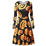 Hosamtel Women Dress Long Sleeve Halloween Pumpkins Print Costume Evening Prom Swing Cocktail Dress For Sale