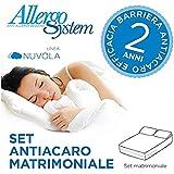 Set Antiacaro Allergosystem: coprimaterasso Antiacaro con cerniera per letto matrimoniale 170x200x20cm + 2 copricuscino 50x80cm