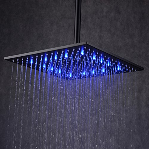 Ollypulse 12'' Square Color Changing LED Stainless Steel Rain Shower Head, Oil Rubbed Bronze Finish, Black