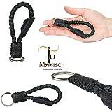 Echtleder Schlüsselanhänger geflochten in Handarbeit hergestellt! Schlüsselband aus Leder für Damen und Herren, Unisex - Farbe: schwarz
