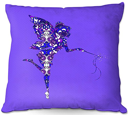 DiaNoche Designs Susie Kunzelman Fairy Dance Blue Periwinkle Unique Bedroom, Living Room and Bathroom Ideas Decorative Woven Couch Throw Pillows, 22'' x 22'' by DiaNoche Designs