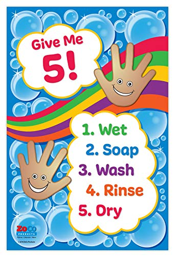 Daycare Posters - Hand Washing Posters - Laminated Health Posters - Hand Washing Signs for Kids - Please Wash Your Hands Signs for Children - Educational Health and Hygiene Poster - 12 x 18 Inches