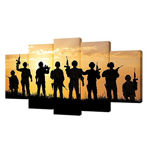 (VVOVV Wall Decor - Large Poster Prints Military Canvas American Army Troops Silhouettes Photos Picture 5 Panel American Soldiers Wall Art Painting Gallery Wrapped Giclee Artwork)